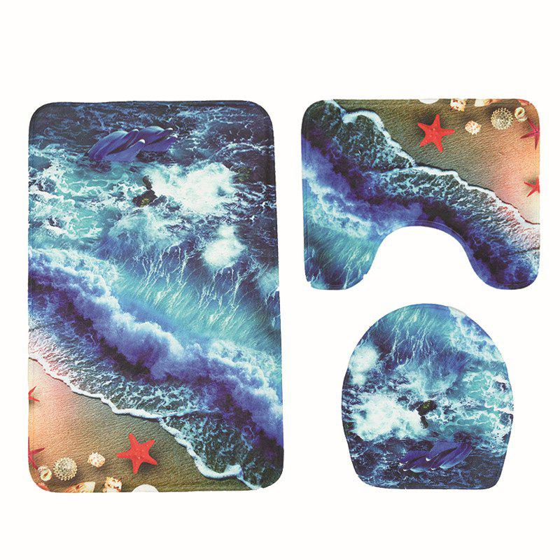 Wave Print Toilet Mat Bathroom Anti-slip Bath Mat Set