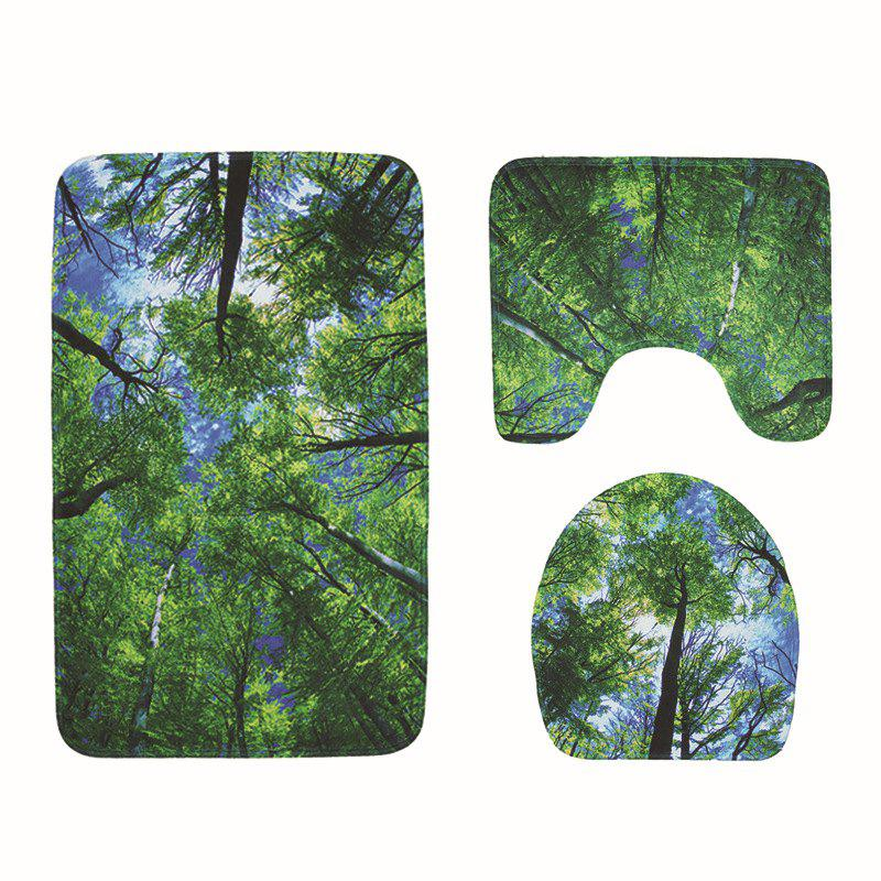 Woods Printed Toilet Mat Bathroom Anti-slip Bath Mat Set
