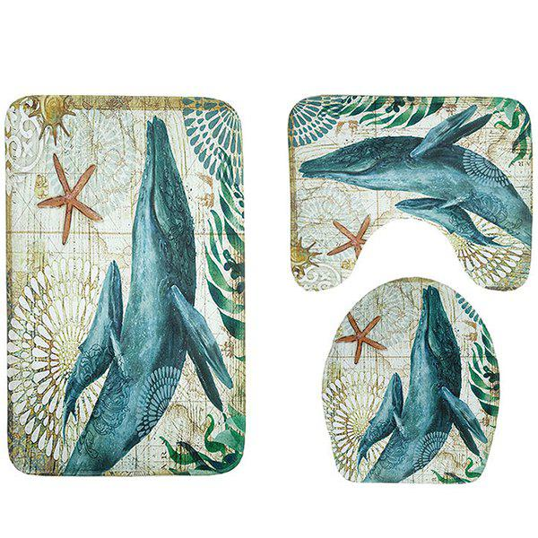Whale Print Toilet Mat Three-piece Bathroom Anti-slip Mat Set