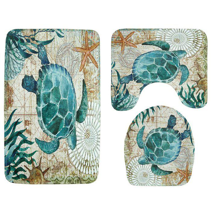 Turtle Print Toilet Mat Bathroom Anti-slip Carpet Set