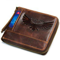 M1258 Men Wallet Leather Short Wallet Crazy Leather Zipper Coin Purse -