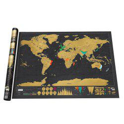 Large World Black Luxury Edition Scratch Map Paper Travel Footprint -