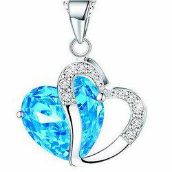 Heart Shaped Artificial Crystal Clavicle Necklace -