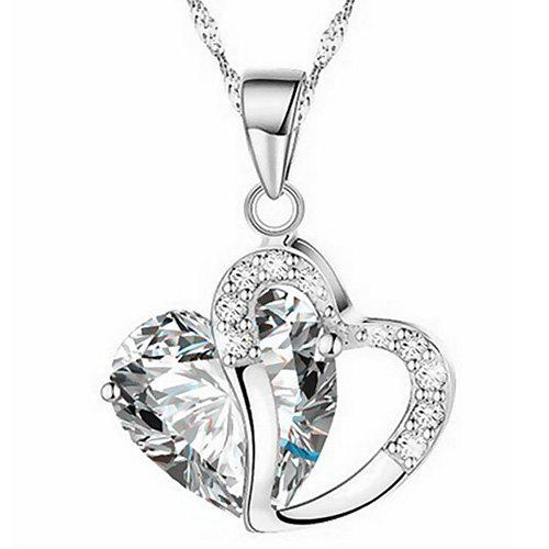 Discount Heart Shaped Artificial Crystal Clavicle Necklace