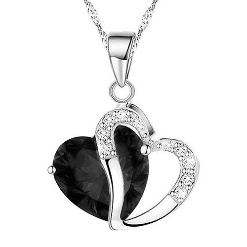Unique Heart Shaped Artificial Crystal Clavicle Necklace