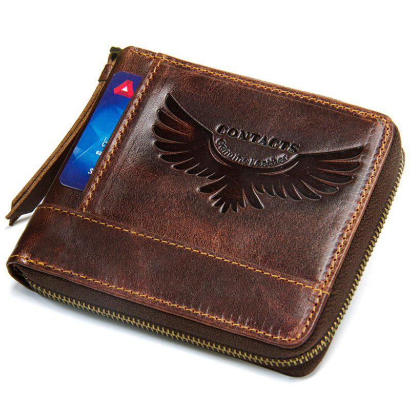 Outfit M1258 Men Wallet Leather Short Wallet Crazy Leather Zipper Coin Purse