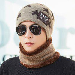 Plus Velvet Knit Bib Hat Two-piece Korean Version Protection Warm Wool Hat -
