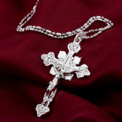 Simple Silver Cross Necklace -