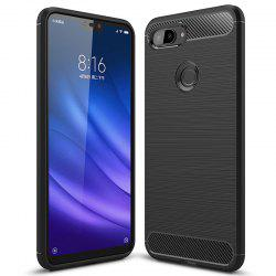 Naxtop Carbon Fiber Brushed Non-slip Soft Protection Back Cover Phone Case for Xiaomi Mi 8 Lite -