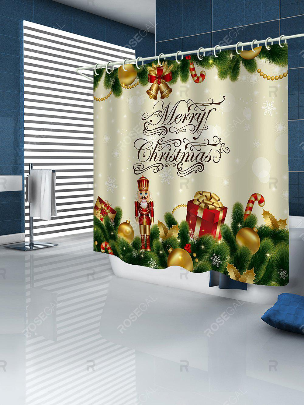 Buy Christmas Decorations Print Waterproof Bathroom Shower Curtain