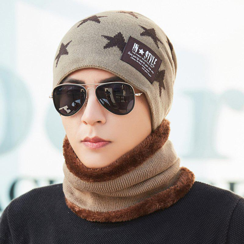 Shop Plus Velvet Knit Bib Hat Two-piece Korean Version Protection Warm Wool Hat