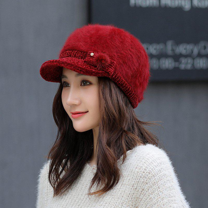 Sale Rabbit Fur Hat Ladies Winter Duck Tongue Knit Hat Thick Warm Beret for  Women 9060556fa4c
