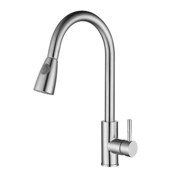 Stainless Steel Kitchen Pull-type Faucet Argent