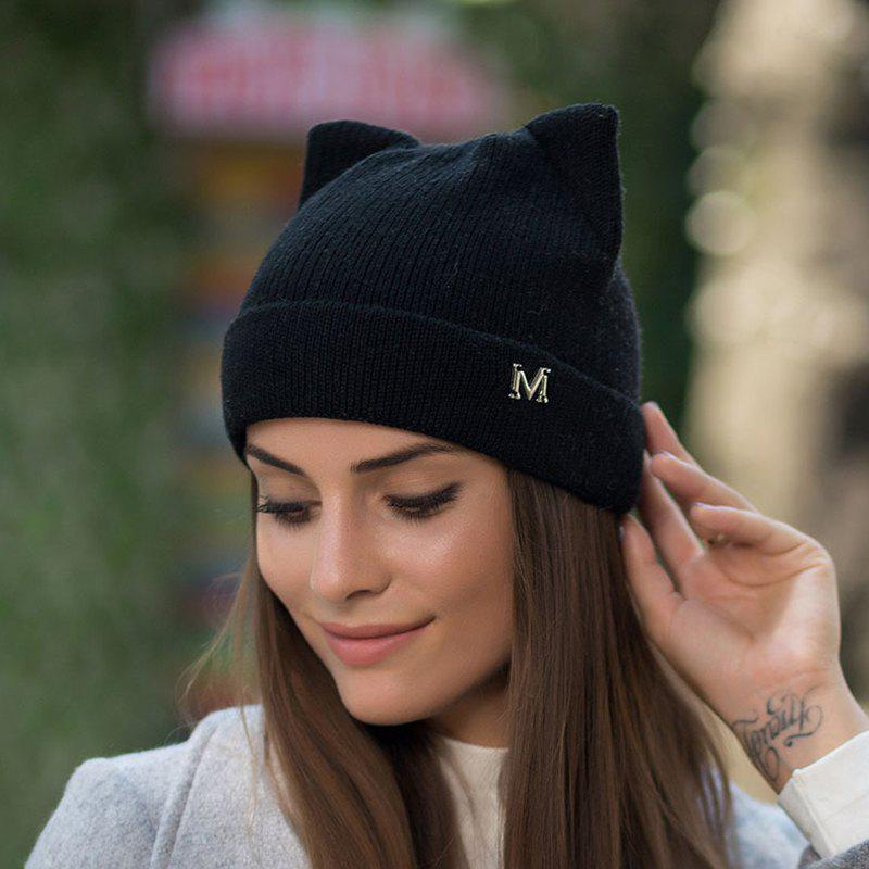1fb17372697 Affordable Autumn And Winter Wool Knit Hat Ladies Outdoor Hat Warm Cat Ears  Skullies Beanies