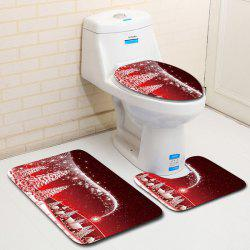 Dl2006 Christmas Snowman Bathroom Toilet Floor Mat Door Mat Toilet Seat 3pcs - Многоцветный-A