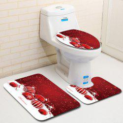 Dl2011 Christmas Snowman Bathroom Toilet Floor Mat Door Mat Toilet Seat 3pcs -