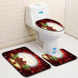 Dl2012 Christmas Snowman Bathroom Toilet Floor Mat Door Mat Toilet Seat 3pcs -