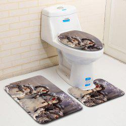 Dl2008 Christmas Snowman Bathroom Toilet Floor Mat Door Mat Toilet Seat 3pcs -