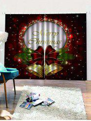 2 Panels Christmas Bells Print Window Curtains -