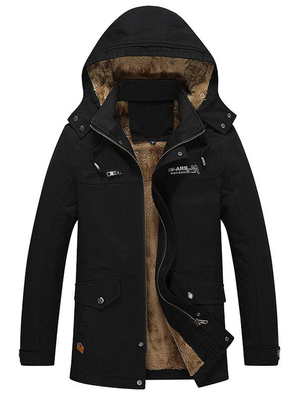 Best Autumn Winter Men Thick Brushed Coat Casual Hooded Jacket Parka