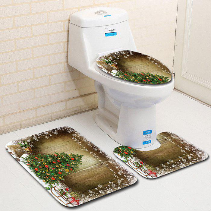 Dl2000 Christmas Snowman Bathroom Toilet Three-piece Floor Mat Door Mat Bathroom Carpet