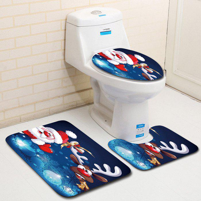 Unique Dl2010 Christmas Snowman Bathroom Toilet Floor Mat Door Mat Toilet Seat 3pcs