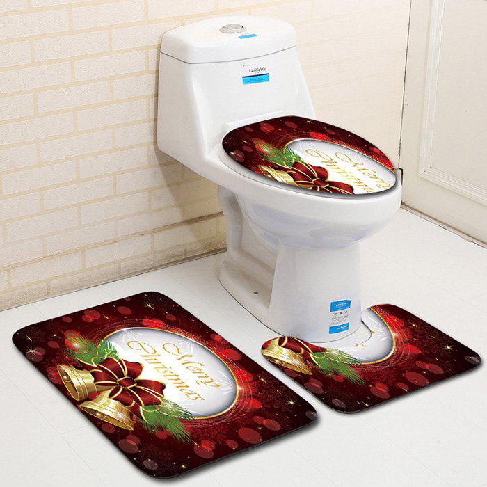 Outfits Dl2012 Christmas Snowman Bathroom Toilet Floor Mat Door Mat Toilet Seat 3pcs