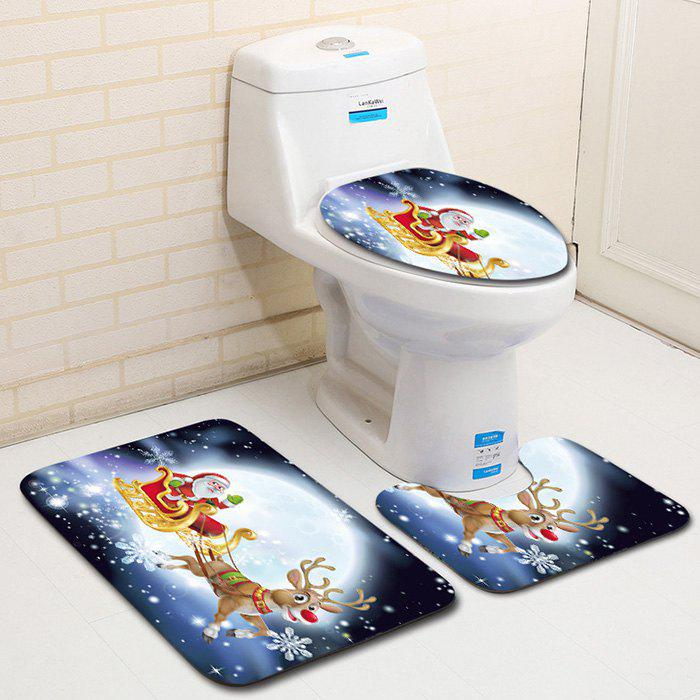 Christmas Snowman Bathroom Toilet Floor Mat Bathroom Carpet 3pcs Multi-A