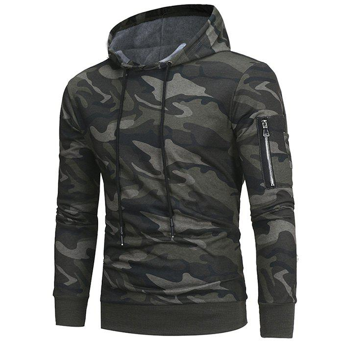 Fashion 2018 Classic Camouflage Casual Men's Hooded Turtleneck Sweater