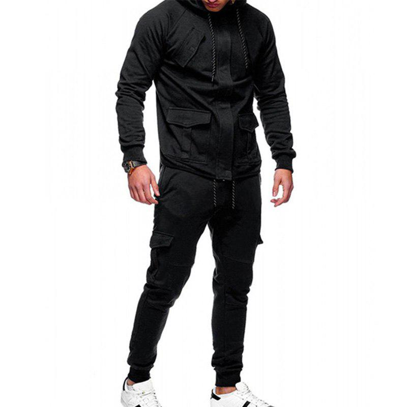 Outfit Men's Casual Solid Color Slim Sports Suit