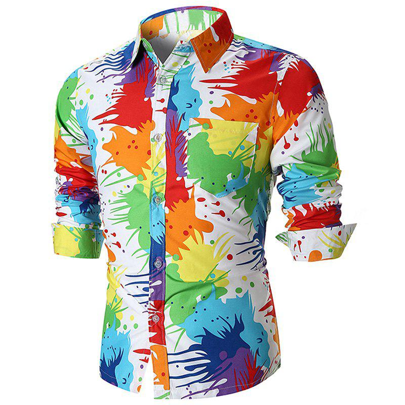 Store Men's Fashion Personality Color Inkjet Printing Youth Trend Casual Slim Shirt