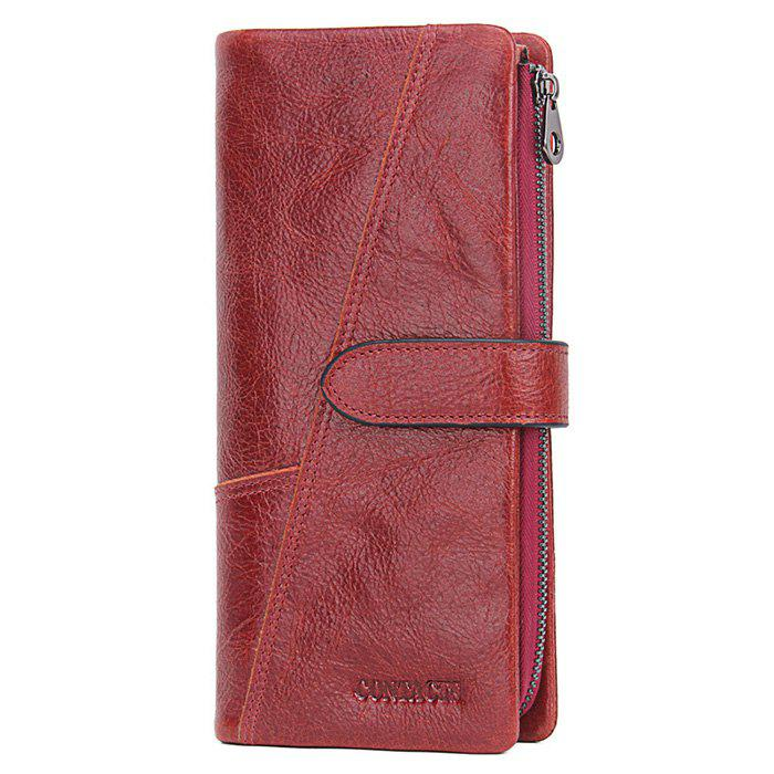Buy Contacts Fashionable Buckle Leather Women Wallet Casual Tri-fold Clutch Bag