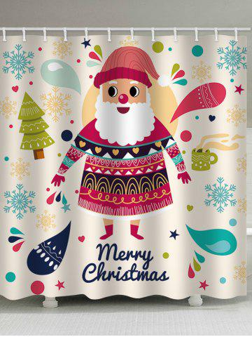 Christmas Cartoon Santa Claus Print Waterproof Shower Curtain