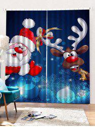 2 Panels Christmas Santa Elk Print Window Curtains -