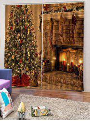2PCS Christmas Tree Candle Pattern Window Curtains -