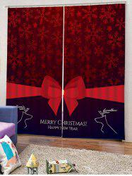 2PCS Merry Christmas Deer Bowknot Pattern Window Curtains -