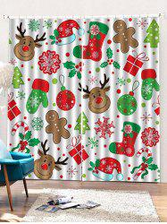 2PCS Christmas Theme Deer Snowflake Pattern Window Curtains -