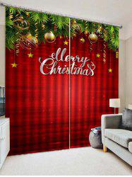 2PCS Merry Christmas Star Printed Window Curtains -