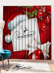 2PCS Merry Christmas Hat Gift Pattern Window Curtains -