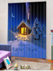 2PCS Christmas Happy New Year Pattern Window Curtains -
