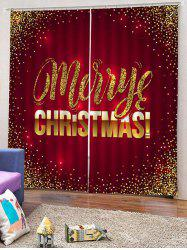 2PCS Merry Christmas Pattern Window Curtains -