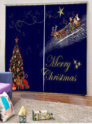 2PCS Father Christmas Tree Gift Pattern Window Curtains -