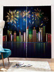 2PCS Christmas City Night Pattern Window Curtains -