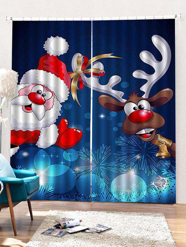 Fancy 2 Panels Christmas Santa Elk Print Window Curtains