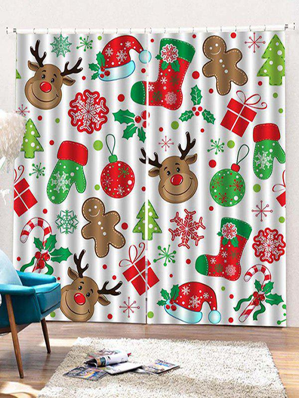 Hot 2PCS Christmas Theme Deer Snowflake Pattern Window Curtains