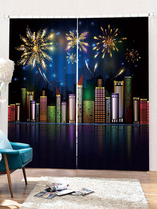 Fancy 2PCS Christmas City Night Pattern Window Curtains