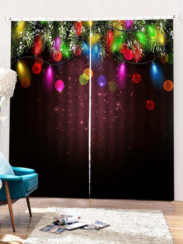 Discount 2PCS Christmas Light Pattern Window Curtains
