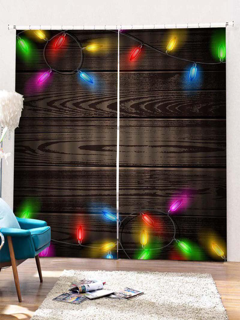 Outfit 2PCS Christmas Wooden Light Pattern Window Curtains