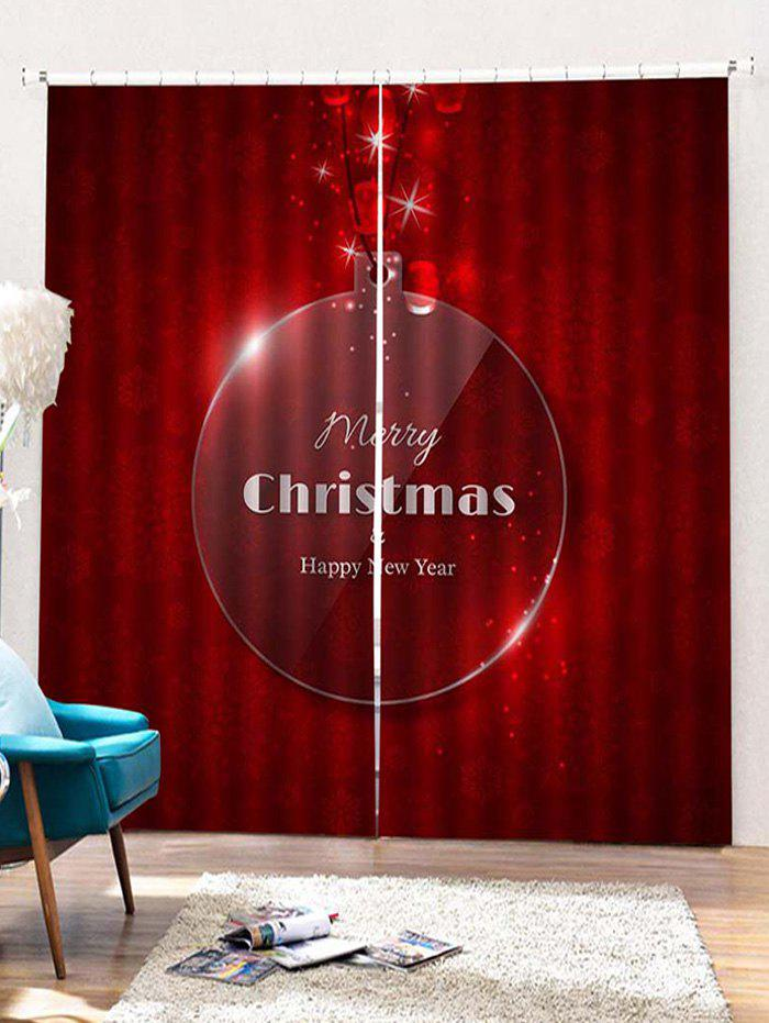Chic 2PCS Merry Christmas Happy New Year Window Curtains