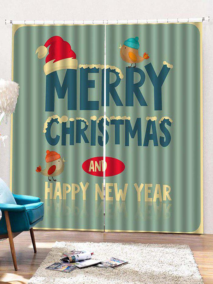 Outfit 2PCS Merry Christmas Bird Pattern Window Curtains